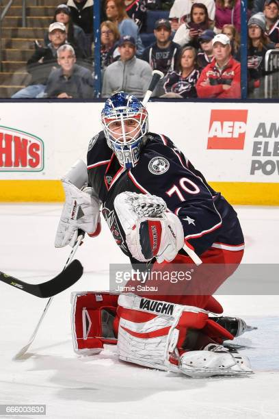 Goaltender Joonas Korpisalo of the Columbus Blue Jackets defends the net against the Winnipeg Jets on April 6 2017 at Nationwide Arena in Columbus...