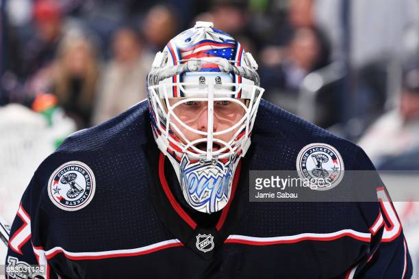 Goaltender Joonas Korpisalo of the Columbus Blue Jackets defends the net against the Carolina Hurricanes on November 28 2017 at Nationwide Arena in...