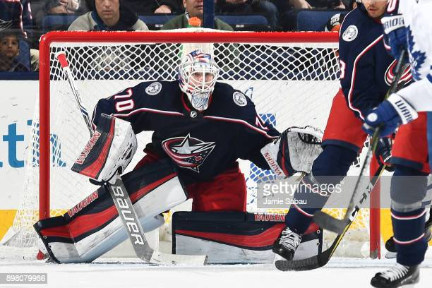 Goaltender Joonas Korpisalo of the Columbus Blue Jackets defends the net against the Toronto Maple Leafs on December 20 2017 at Nationwide Arena in...