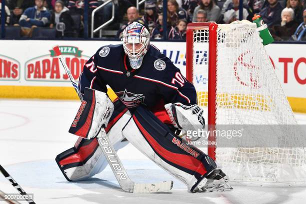 Goaltender Joonas Korpisalo of the Columbus Blue Jackets defends the net against the Tampa Bay Lightning on December 31 2017 at Nationwide Arena in...