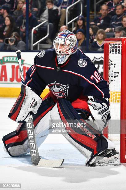 Goaltender Joonas Korpisalo of the Columbus Blue Jackets defends the net against the Dallas Stars on January 18 2018 at Nationwide Arena in Columbus...