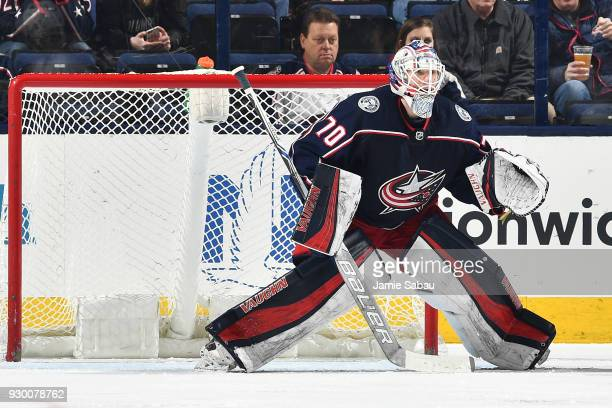 Goaltender Joonas Korpisalo of the Columbus Blue Jackets defends the net against the Colorado Avalanche on March 8 2018 at Nationwide Arena in...