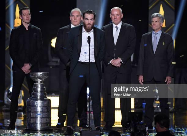 Goaltender Jordan Binnington head coach Craig Berube center Ryan O'Reilly general manager Doug Armstrong and Chairman and Governor Tom Stillman of...