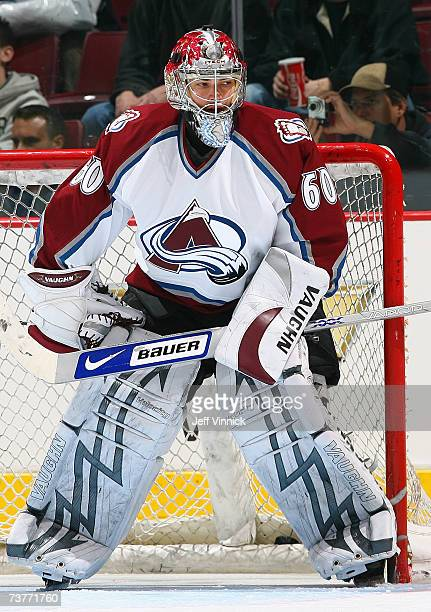Goaltender Jose Theodore of the Colorado Avalanche warms up prior to their NHL game against the Vancouver Canucks at General Motors Place on March 25...
