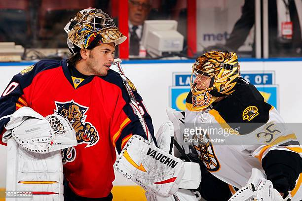 Goaltender Jose Theodore of the Florida Panthers chats with Goaltender Anton Khudobin of the Boston Bruins prior to the start of the game at the BBT...