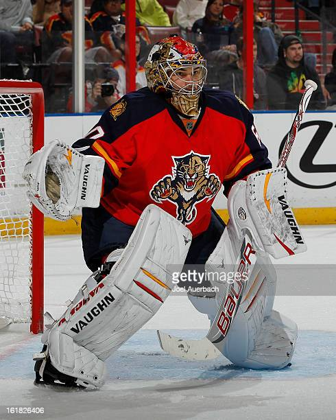 Goaltender Jose Theodore of the Florida Panthers defends the net against the Montreal Canadiens at the BBT Center on February 14 2013 in Sunrise...