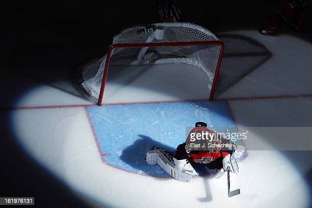 Goaltender Jose Theodore of the Florida Panthers roughs up the ice prior to the start of the game against the Tampa Bay Lightning at the BBT Center...