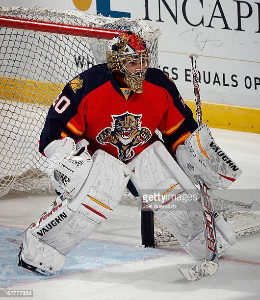 Goaltender Jose Theodore of the Florida Panthers warms up prior to the game against the Pittsburgh Penguins at the BBT Center on February 26 2013 in...