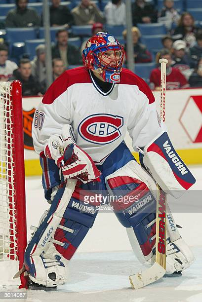 Goaltender Jose Theodore of the Montreal Canadiens gets into position during the game against the Buffalo Sabres on January 27 2003 at HSBC Arena in...