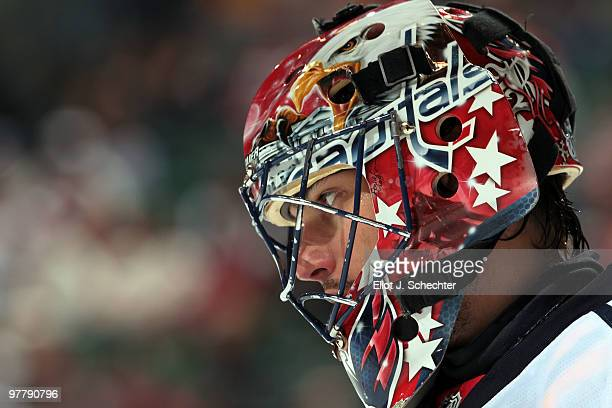 Goaltender Jose Theodore of the Washington Capitals cools off during a break in the action against the Florida Panthers at the BankAtlantic Center on...