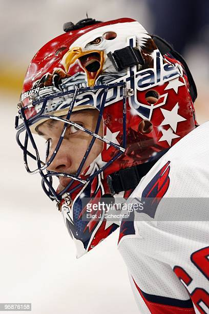 Goaltender Jose Theodore of the Washington Capitals on the ice prior to the start of the game against the Florida Panthers at the BankAtlantic Center...