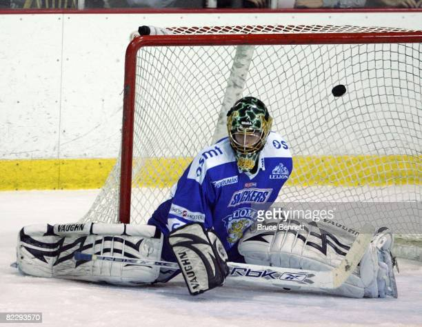 Goaltender Juha Metsola of Team Finland misses the puck against Team USA at the USA Hockey National Junior Evaluation Camp on August 9, 2008 at the...