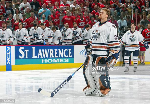 Goaltender Jussi Markkanen of the Edmonton Oilers looks on prior to taking on the Carolina Hurricanes in game seven of the 2006 NHL Stanley Cup...