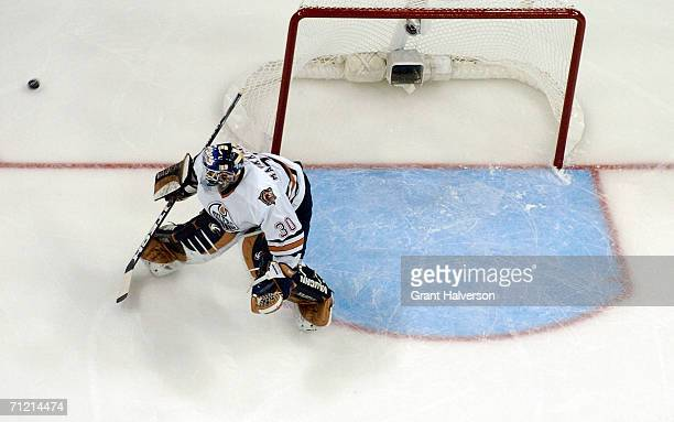 Goaltender Jussi Markkanen of the Edmonton Oilers protects the goal against the Carolina Hurricanes during game five of the 2006 NHL Stanley Cup...