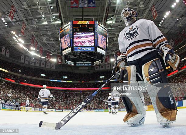 Goaltender Jussi Markkanen of the Edmonton Oilers skates back into position after giving up a goal to the Carolina Hurricanes during game five of the...