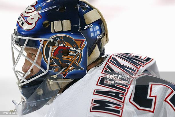 Goaltender Jussi Markkanen of the Edmonton Oilers warms up prior to the game against the Colorado Avalanche at the Pepsi Center on November 13, 2006...