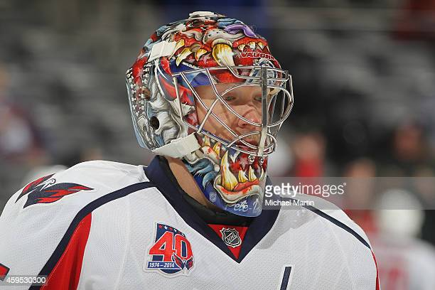 Goaltender Justin Peters of the Washington Capitals skates prior to the game against the Colorado Avalanche at the Pepsi Center on November 20 2014...