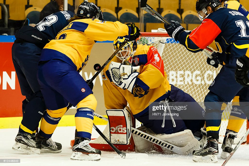 Goaltender Kaapo Kahkonen #36 of Lukko Rauma focused on the puck, during the Champions Hockey League Round of 32 match between HV71 Jonkoping and Lukko Rauma at Kinnarps Arena on October 4, 2016 in Jonkoping, Sweden.
