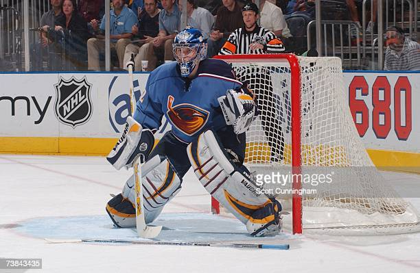 Goaltender Kari Lehtonen of the Atlanta Thrashers looks to make a save against the San Jose Sharks during their NHL game on March 22 2007 at Philips...