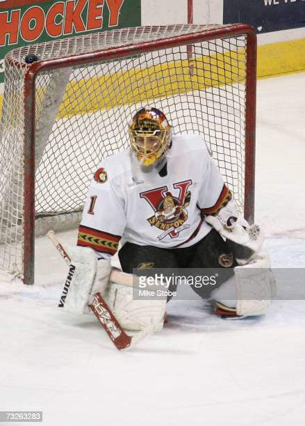 Goaltender Kelly Guard of the Binghamton Senators defends against the Bridgeport Sound Tigers at the Arena at Harbor Yard on January 24 2007 in...
