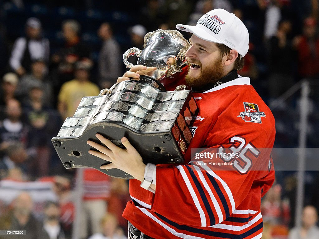 Goaltender Ken Appleby #35 of the Oshawa Generals hugs the Memorial Cup after defeating the Kelowna Rockets during the 2015 Memorial Cup Championship at the Pepsi Coliseum on May 31, 2015 in Quebec City, Quebec, Canada. The Oshawa Generals defeated the Kelowna Rockets 2-1 in overtime and become the 2015 Memorial Cup Champions.