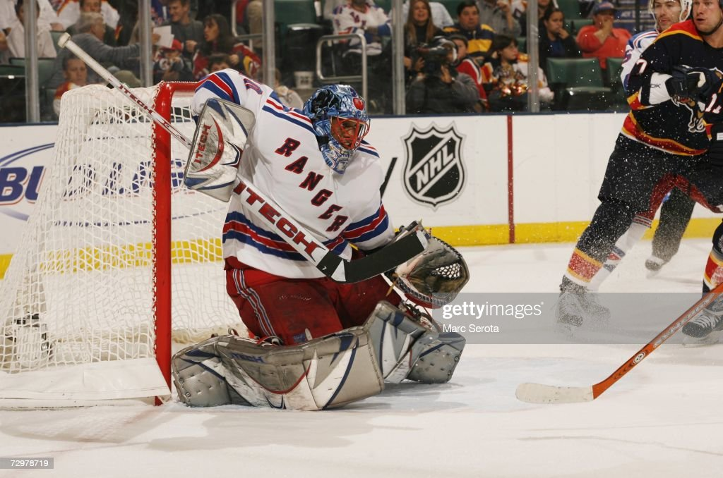 Goaltender Kevin Weekes #80 of the New York Rangers makes a save during the NHL game against the Florida Panthers on December 21, 2006 at the BankAtlantic Center in Sunrise, Florida. The Panthers defeated the Rangers 3-2.