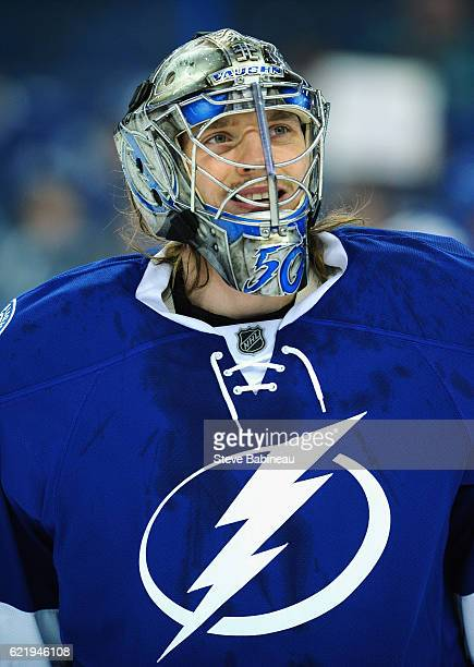 Goaltender Kristers Gudlevskis of the Tampa Bay Lightning plays in the game against the Ottawa Senators at Amalie Arena on December 10 2015 in Tampa...