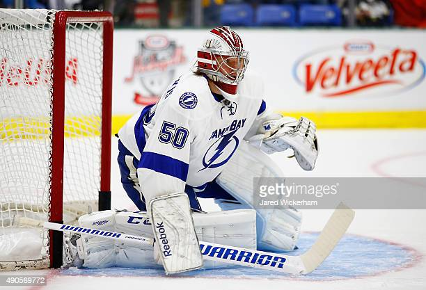 Goaltender Kristers Gudlevskis of the Tampa Bay Lightning warms up before the NHL Kraft Hockeyville USA preseason game against the Pittsburgh...