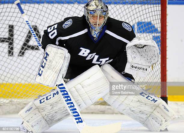 Goaltender Kristers Gudlevskis of the Tampa Bay Lightning warms up before the game against the Washington Capitals at Amalie Arena on December 12...