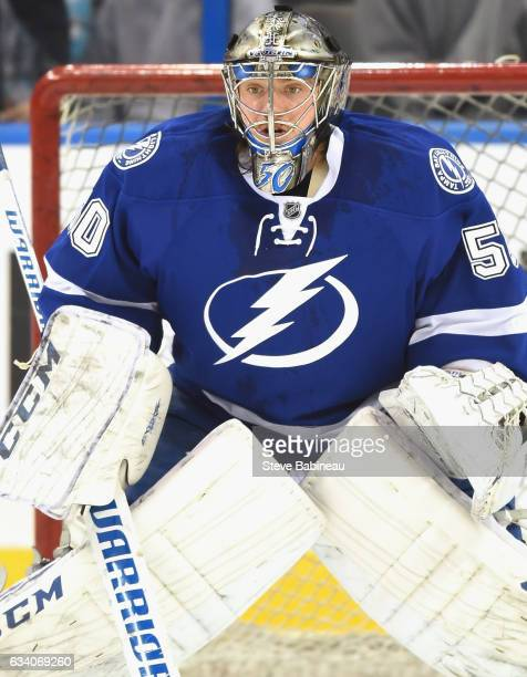 Goaltender Kristers Gudlevskis#50 of the Tampa Bay Lightning warms up before the game against the Nashville Predators at Amalie Arena on February 12...