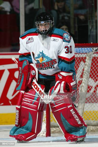 Goaltender Kristofer Westblom of the Kelowna Rockets defends his net against the Vancouver Giants during their WHL game on October 21 2005 at the...