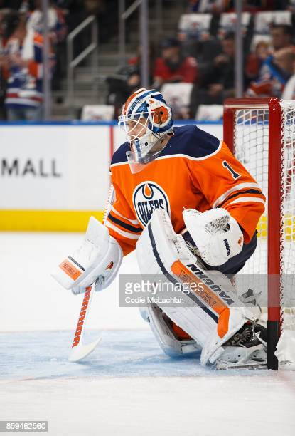 Goaltender Laurent Brossoit of the Edmonton Oilers warms up against the Calgary Flames at Rogers Place on October 4 2017 in Edmonton Canada