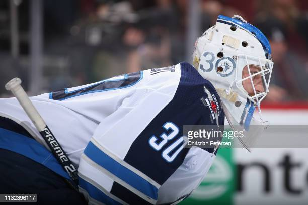 Goaltender Laurent Brossoit of the Winnipeg Jets in action during the NHL game against the Arizona Coyotes at Gila River Arena on February 24 2019 in...