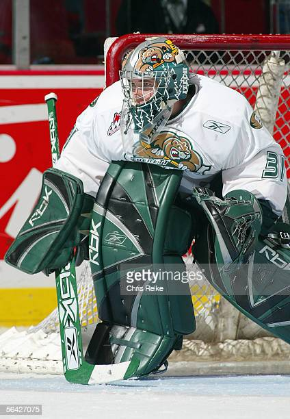 Goaltender Leland Irving of the Everett Silvertips defends his net against the Vancouver Giants during their WHL game on October 28 2005 at Pacific...