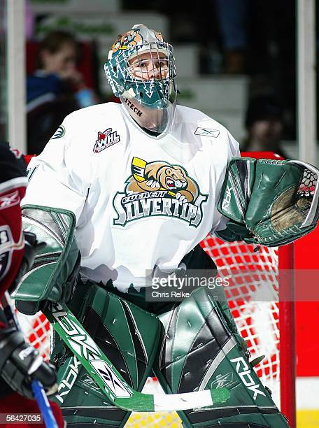 Goaltender Leland Irving of the Everett Silvertips eyes the play from his crease during their WHL game against the Vancouver Giants on October 28...