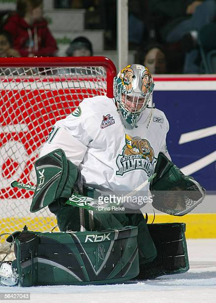 Goaltender Leland Irving of the Everett Silvertips makes a save against the Vancouver Giants during their WHL game on October 28 2005 at Pacific...