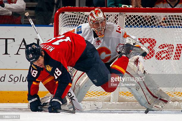 Goaltender Leland Irving of the Florida Panthers defends the net against Shawn Matthias of the Florida Panthers at the BankAtlantic Center on...
