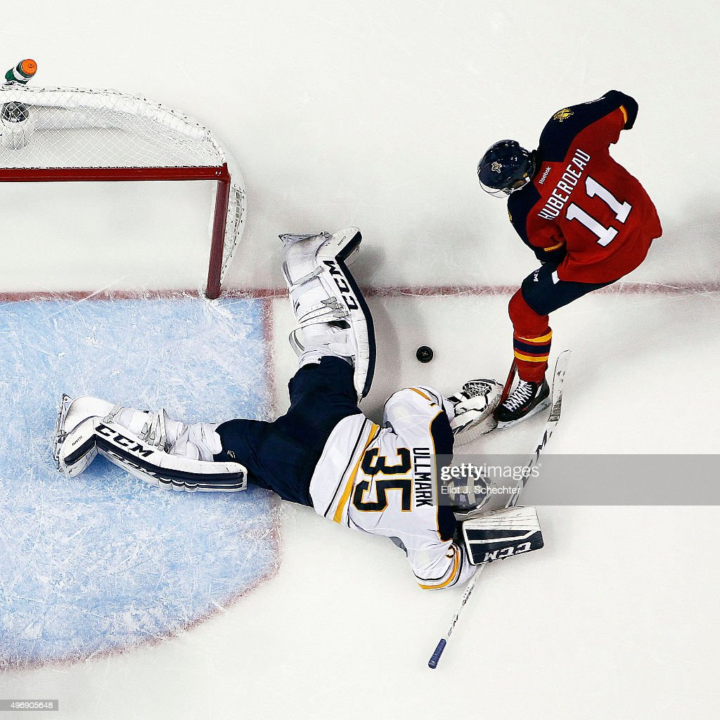 Goaltender Linus Ullmark #34 of the Buffalo Sabres defends the net against Jonathan Huberdeau #11 of the Florida Panthers at the BB&T Center on November 12, 2015 in Sunrise, Florida.