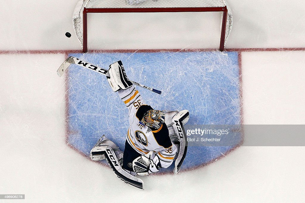 Goaltender Linus Ullmark #34 of the Buffalo Sabres makes a stick save against the Florida Panthers at the BB&T Center on November 12, 2015 in Sunrise, Florida.