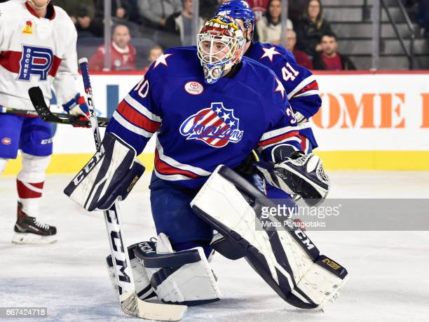 Goaltender Linus Ullmark of the Rochester Americans defends his net against the Laval Rocket during the AHL game at Place Bell on October 25 2017 in...