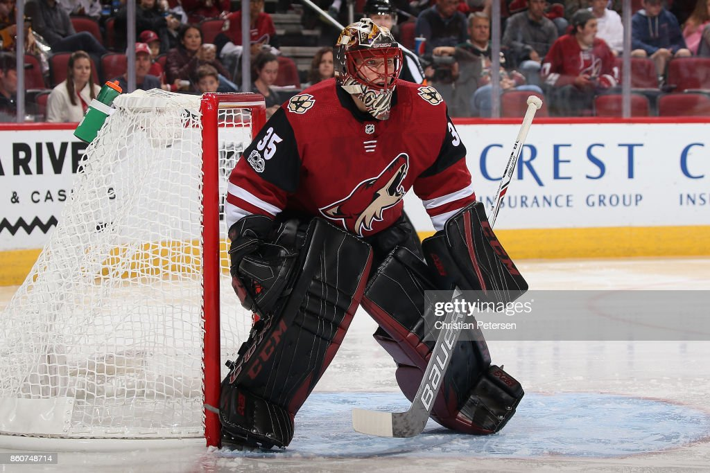 Goaltender Louis Domingue #35 of the Arizona Coyotes in action during the second period of the NHL game against the Detroit Red Wings at Gila River Arena on October 12, 2017 in Glendale, Arizona. The Red Wings defeated the Coyotes 4-2.