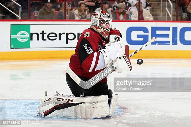 Goaltender Louis Domingue of the Arizona Coyotes makes a save against the Anaheim Ducks during the third period of the NHL game at Gila River Arena...