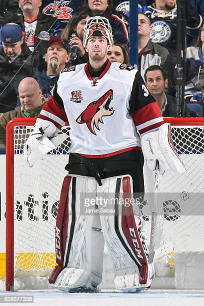 Goaltender Louis Domingue of the Arizona Coyotes takes a breather against the Columbus Blue Jackets on December 5 2016 at Nationwide Arena in...