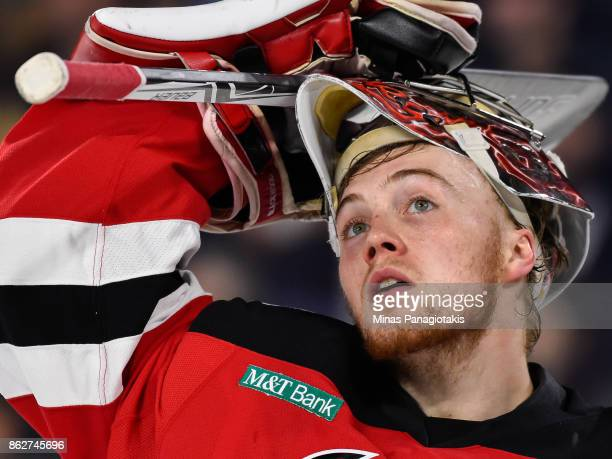 Goaltender Mackenzie Blackwood of the Binghamton Devils looks on against the Laval Rocket during the AHL game at Place Bell on October 13 2017 in...