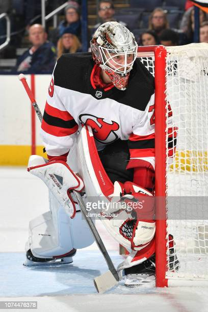 Goaltender Mackenzie Blackwood of the New Jersey Devils defends the net during the first period of a game against the Columbus Blue Jackets on...
