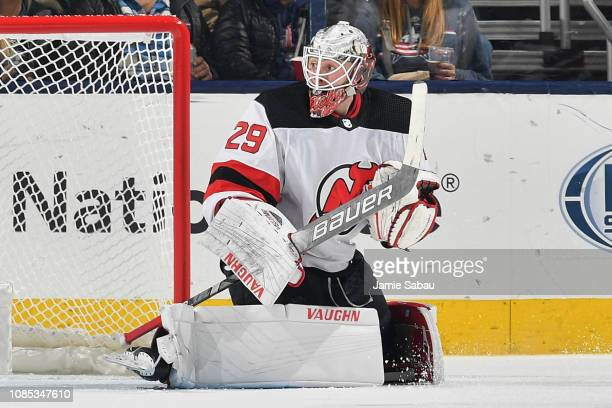 Goaltender Mackenzie Blackwood of the New Jersey Devils defends the net against the Columbus Blue Jackets on December 20 2018 at Nationwide Arena in...