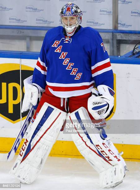 Goaltender Mackenzie Skapski of the New York Rangers warms up before the game against the Anaheim Ducks at Madison Square Garden on March 22 2015 in...