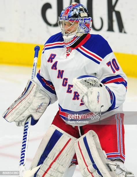 Goaltender Mackenzie Skapski of the New York Rangers warms up prior to a game against the Philadelphia Flyers at the Wells Fargo Center on February...