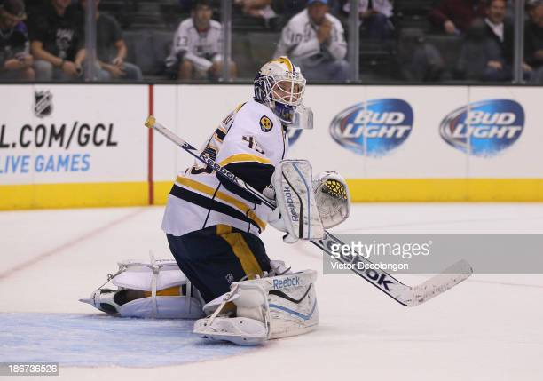 Goaltender Magnus Hellberg of the Nashville Predators makes a save during warmup prior to the NHL game against the Los Angeles Kings at Staples...