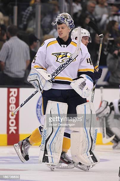 Goaltender Magnus Hellberg of the Nashville Predators warmsup prior to the NHL game against the Los Angeles Kings at Staples Center on November 2...